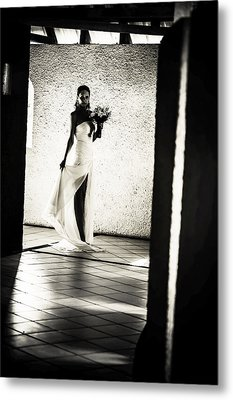 Bride. Black And White Metal Print by Jenny Rainbow