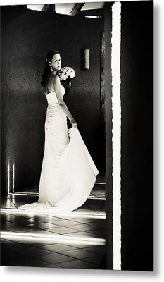 Bride I. Black And White Metal Print by Jenny Rainbow