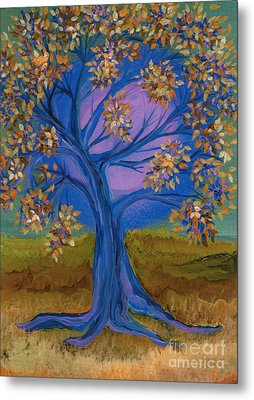 Bridesmaid Tree Blue Metal Print by First Star Art