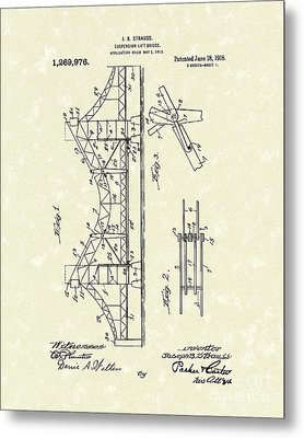 Bridge 1918 Patent Art Metal Print by Prior Art Design