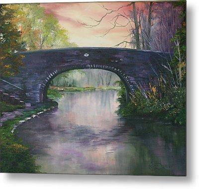 Bridge 91 At Fradley Canal Staffordshire Uk Metal Print by Jean Walker