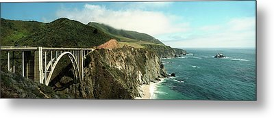 Bridge Across Hills At The Coast, Bixby Metal Print by Panoramic Images