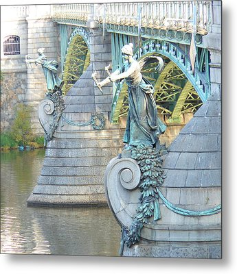 Metal Print featuring the photograph Bridge Adornment In Prague by Kay Gilley