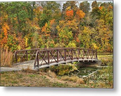 Bridge Amongst Autumn Colors Metal Print