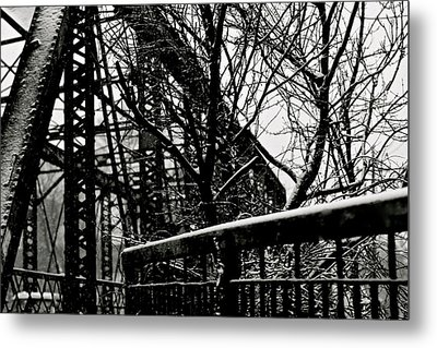 Bridge At Snowfall Metal Print