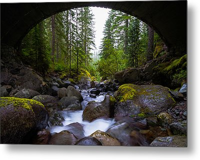 Bridge Below Rainier Metal Print