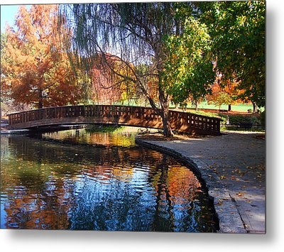 Bridge In Autumn Metal Print by Ellen Tully