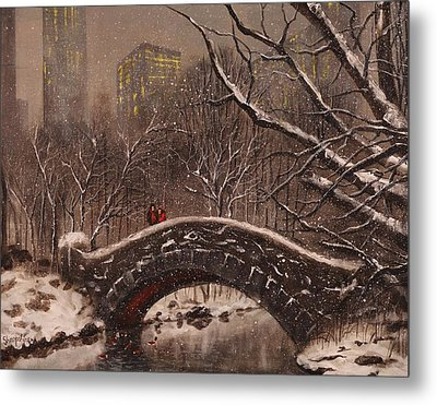 Bridge In Central Park Metal Print by Tom Shropshire