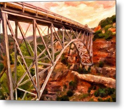 Bridge In Oak Creek Canyon Metal Print by Michael Pickett