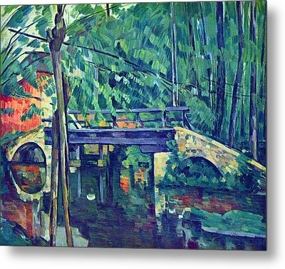 Bridge In The Forest By Cezanne Metal Print by John Peter