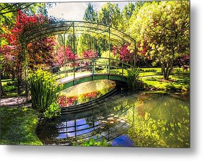 Bridge In The Garden Metal Print by Debra and Dave Vanderlaan