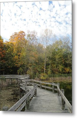 Bridge Into Autumn Metal Print by Guy Ricketts