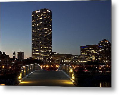 Metal Print featuring the photograph Bridge Into Milwaukee by Deborah Klubertanz