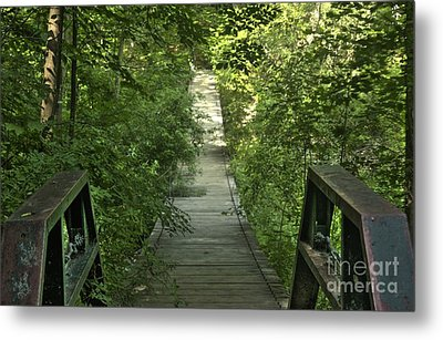 Metal Print featuring the photograph Bridge Into The Woods by Jim Lepard
