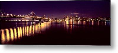 Bridge Lit Up At Night, Bay Bridge, San Metal Print
