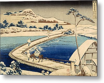 Bridge Of Boats At Sawa Metal Print by Hokusai Katasushika