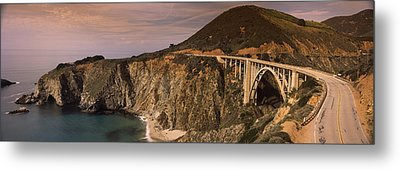 Bridge On A Hill, Bixby Bridge, Big Metal Print by Panoramic Images