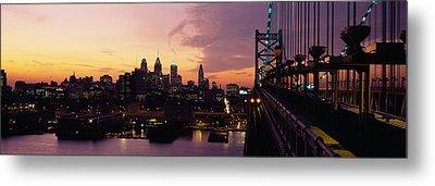 Bridge Over A River, Benjamin Franklin Metal Print by Panoramic Images