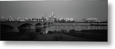 Bridge Over A River With Skyscrapers Metal Print