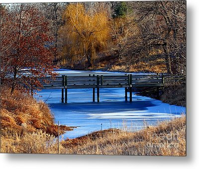 Metal Print featuring the photograph Bridge Over Icy Waters by Elizabeth Winter