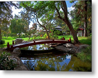 Metal Print featuring the photograph Bridge Over Japanese Gardens Tea House by Jerry Cowart