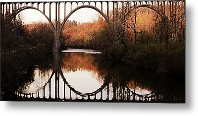 Bridge Over The River Cuyahoga Metal Print by Patricia Januszkiewicz