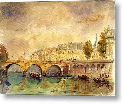 Bridge Over The Seine Paris. Metal Print by Juan  Bosco