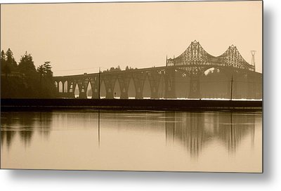 Bridge Reflection In Sepia Metal Print