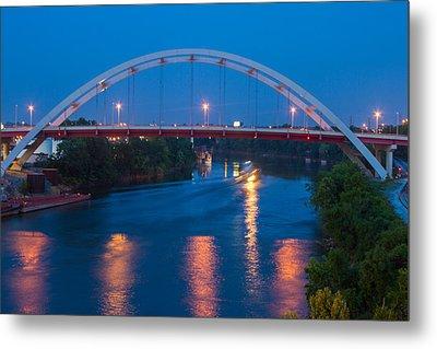 Bridge Reflections Metal Print by Robert Hebert