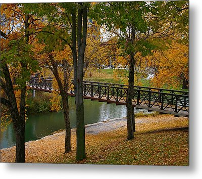 Metal Print featuring the photograph Bridge To Fall by Elizabeth Winter