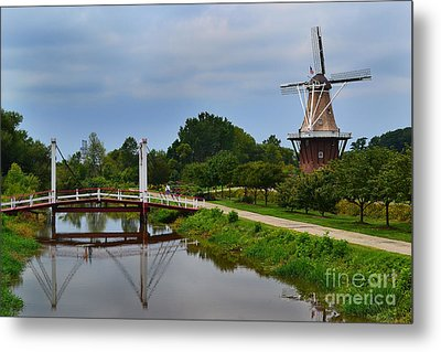 Bridge To Holland Windmill Metal Print