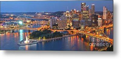 Bridge To The Pittsburgh Skyline Metal Print by Adam Jewell
