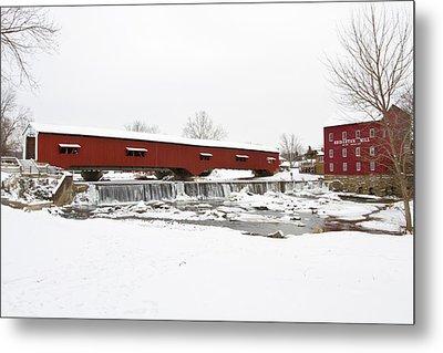 Bridgeton Covered Bridge In Winter Metal Print by Panoramic Images