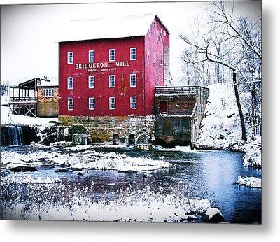 Bridgeton Mill In Winter Metal Print by Virginia Folkman