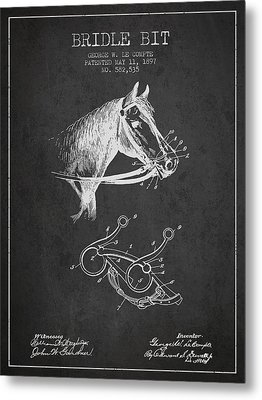 Bridle Bit Patent From 1897 - Charcoal Metal Print by Aged Pixel