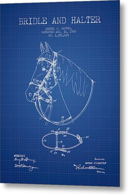 Bridle Halter Patent From 1920 - Blueprint Metal Print by Aged Pixel