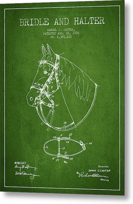 Bridle Halter Patent From 1920 - Green Metal Print by Aged Pixel