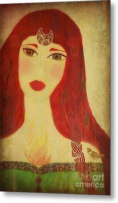 Brighid Celtic Goddess Folk Metal Print by Sacred  Muse