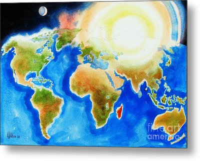 Bright Blue World Map In Watercolor With Sunshine And Moon  Metal Print by Kip DeVore