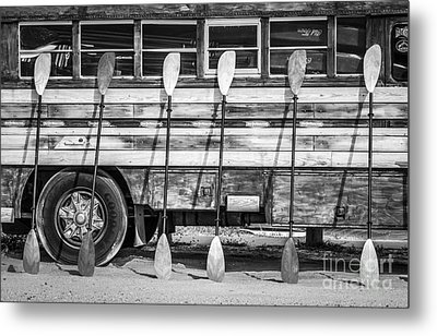 Bright Colored Paddles And Vintage Woodie Surf Bus - Florida - Black And White Metal Print