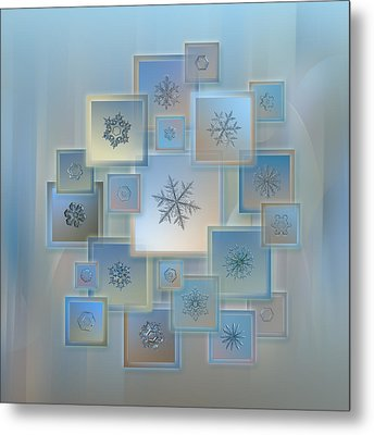 Metal Print featuring the photograph Snowflake Collage - Bright Crystals 2012-2014 by Alexey Kljatov