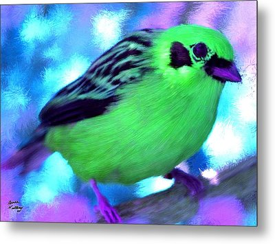 Bright Green Finch Metal Print