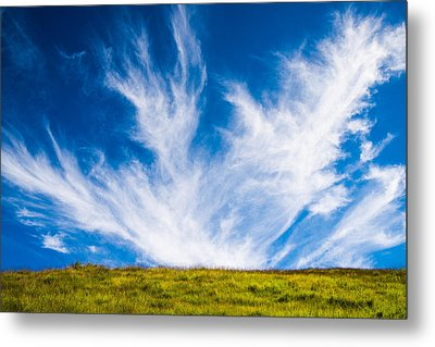 Bright Green Meadow And Deep Blue Sky Metal Print by Matthias Hauser