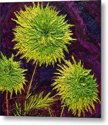 Bright Green Mums Metal Print by Paris Wyatt Llanso