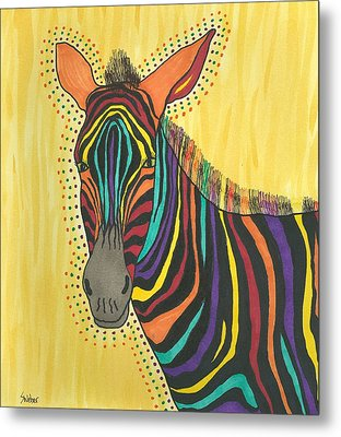 Metal Print featuring the painting Bright Lite African Zebra  by Susie Weber