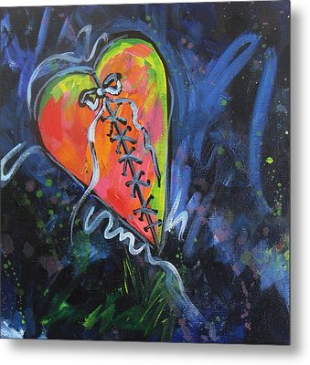 Bright Mended Broken Heart Metal Print by Carol Suzanne Niebuhr