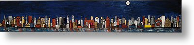 Bright Moon Over The Hudson Metal Print