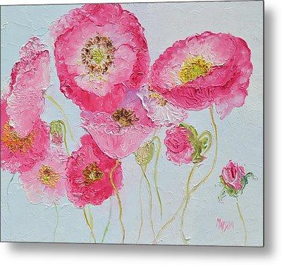 Bright Pink Poppies Metal Print by Jan Matson