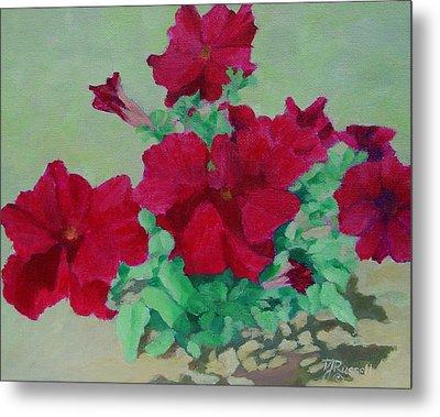 Red Flowers Art Brilliant Petunias Bright Floral  Metal Print by Elizabeth Sawyer