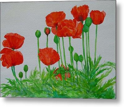 Red Poppies Colorful Flowers Original Art Painting Floral Garden Decor Artist K Joann Russell Metal Print